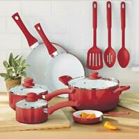 Ceramic Nonstick 12 Pc Cookware Set, Red Home Kitchen Cook, Pots