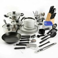 Kitchen Combo Set Home Essential Total Cookware Dinnerware Pots and Pans 83 Pcs