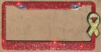 Marines Red Rhinestone License Plate Frame Yellow Ribbon Woman Car Accessories