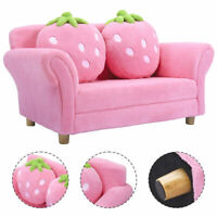 Kids Sofa Strawberry Armrest Chair Lounge Couch w/2 Pillow Children Toddler Pink
