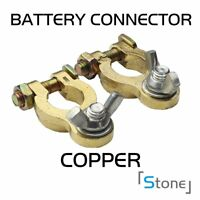 Pair Heavy Duty Top-Post Battery Charger Battery Cable Terminal Wire Golden