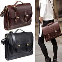 Retro leather Briefcase 13'' 13.3'' Laptop Shoulder Messenger Bag for Men Women