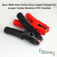 Pair 1300AMP Battery Jump Starter Portable Car Charger Booster Jumper Cables