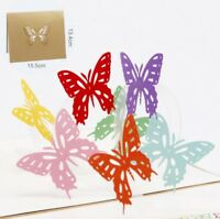 3D Pop Up Card Butterfly Love Greeting Holiday Lovers Creative Gift Cards