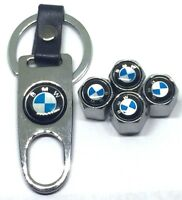 4X Silver Universal Wheel Tire Valve Air Caps Covers w Keychain for BMW