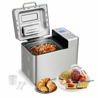 2 LB Automatic Bread Maker Stainless Steel Programmable Bread Machine Silver