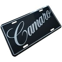 New Chevrolet Camaro Metal License Plate Stamped Chevy auto car truck Black Tag