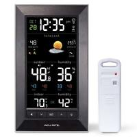 Vertical Wireless Color Weather Station Dark Theme with Temperature Alerts NEW