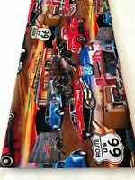 ROUTE 66 Vintage Cars Trucks Bikes Cotton Quilt Fabric BTY