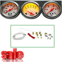 【USA】Universal 50mm Chrome Oil Pressure Water Volt Triple 3Gauge Set Gauges Kit