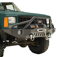 Fit for 1984-2001 Jeep Cherokee XJ Front Bumper W/ LED Lights & Winch Plate