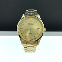 Seiko Sgef04 Mens Watch Gold Tone Stainless Steel Dress Link Bracelet Midsize
