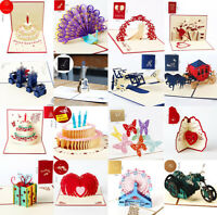 3D Pop Up Card Birthday Wedding Valentine Anniversary Greeting Cards Invitations