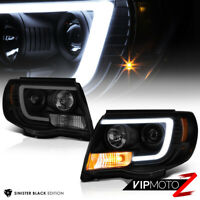 For 05-11 Toyota Tacoma Black Housing Smoke Lens LED Tube Projector Headlight