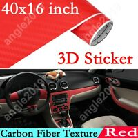DIY 3D Car Sticker Decoration Interior Accessories Red Carbon Fiber Vinyl Wrap