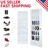 24 Pocket Clear Over The Door Shoe Pantry Closet Cabinet Organizer Rack, White
