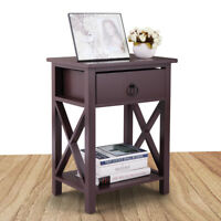 End Table Bedside Storage Living Room Furniture Brown Nightstand With One Drawer