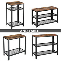 Sofa Side End Table Nightstand Shelf Storage Wood Look Accent Table Industrial