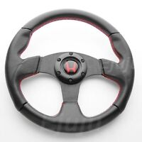 Perforated Finger Grip Black w/ Red Seam Steering Wheel w/ Horn For Honda Acura