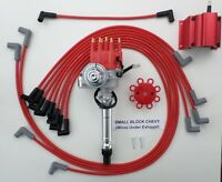 CHEVY SMALL BLOCK RED Small Cap HEI Distributor + Coil +PLUG WIRES under exhaust