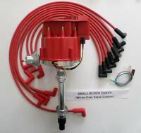 CHEVY 350 Super HEI Distributor & RED 8mm SPARK PLUG WIRES over valve covers USA