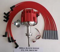 DODGE SMALL BLOCK 273 318 340 360 1964-89 HEI DISTRIBUTOR & RED Spark Plug Wires