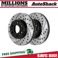 Pair Of 2 Drilled and Slotted Front Disc Performance Brake Rotors New Set Kit