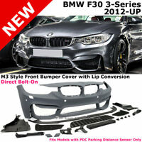 BMW 3-Series F30 12-17 M3 Style W PDC Front Bumper Cover with Aero Lip Spoiler