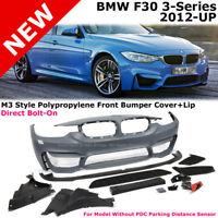 BMW 3-Series F30 12-17 M3 Style W/O PDC Front Bumper Cover with Aero Lip Spoiler