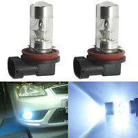 2X H11 H8 60W LED 6000K  White  Samsung 2323 Projector Fog Driving Light Bulbs