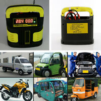 12V/24V Universal Auto Car Battery Charger 350W Jump Starter Booster LCD Display