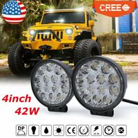 2x 4inch 42W Spot Cree LED Work Light Driving Fog Lamp Round Offroad Auto Truck