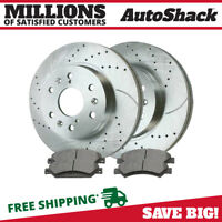 Front Kit Drill Slot Brake Rotors Ceramic Pads 2WD 4WD 4X4 Chevy GMC Sierra 1500
