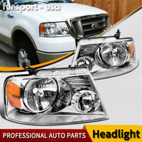 HEADLIGHTS ASSEMBLY FOR 2004-2008 FORD F-150 F150 CHROME HOUSING CLEAR SIDE PAIR