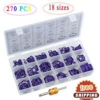 270X 18 Sizes Air Conditioning A/C O-Ring Rubber Seal Gasket Assortment Tool Kit