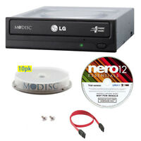 LG 24X Internal CD DVD Burner+FREE 10pk MDisc DVD+Nero SW+SATA Cable for Desktop