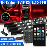 48 LED 4PCS Car Interior Atmosphere Neon Lights Strip Music Control + IR Remote