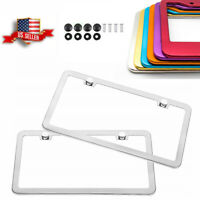 Pair Universal Car Aluminum License Plate Frame Bracket w/ Screw Caps Front Rear
