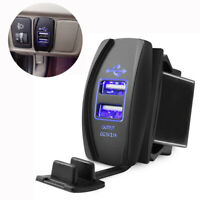 1x Car 5V 3.1A Dual USB Phone Charger Blue LED Indicator Power Supply Waterproof