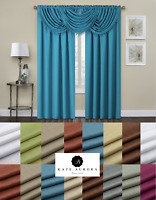 Elegant Textured Window Curtain & Valance Treatments - Assorted Colors & Sizes