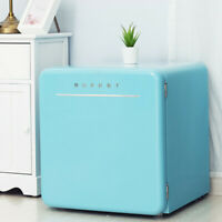 1.6 Cu Ft Retro Mini Fridge Compact Refrigerator Freezer w/ Chilling Box Blue