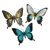 Metal Butterfly Wall Art Decoration, Set of 3 Fauna, Insect, Garden Theme Decor