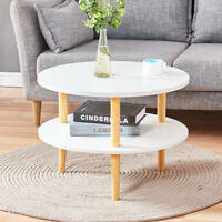 Round Side End Table Tea Coffee Table Wood Living Room Home Furniture White New