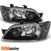 Fit 02-03 Mitsubishi Lancer LS ES Sedan & Wagon Black Headlights Replacement