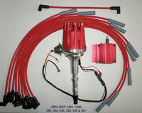 small cap AMC JEEP 290,304,343,360,390,401 Red HEI Distributor,COIL + Plug Wires