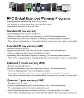 RPC Global Extended Warranty for desktops/workstations/servers, and their parts