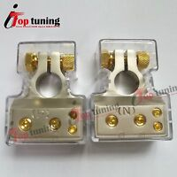 2X Positive & Negative Car Battery Terminal Clamp Copper Alloy Connector W/cover