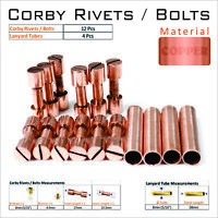 Knife Handles Mount Hardware 12 Copper Corby Rivets 4 Lanyard Tubes Knife Supply