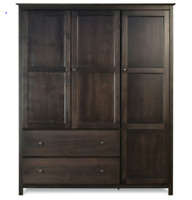 Espresso Wood Finish Bedroom Wardrobe Armoire Cabinet Closet Solid Pine