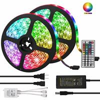 5M 10M RGB 5050 Waterproof LED Strip Light SMD 44 Key IR Remote 12V Power Supply